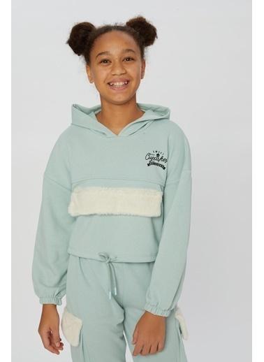 Little Star Little Star Kız Çocuk Peluş Kapaklı Sweatshirt Yeşil